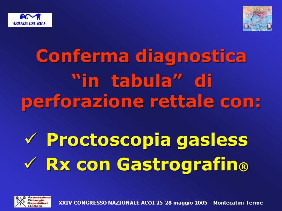 Conferma diagnostica in tabula di perforazione rettale con: in tabula di perforazione rettale con: Proctoscopia gasless Proctoscopia gasless Rx con Ga
