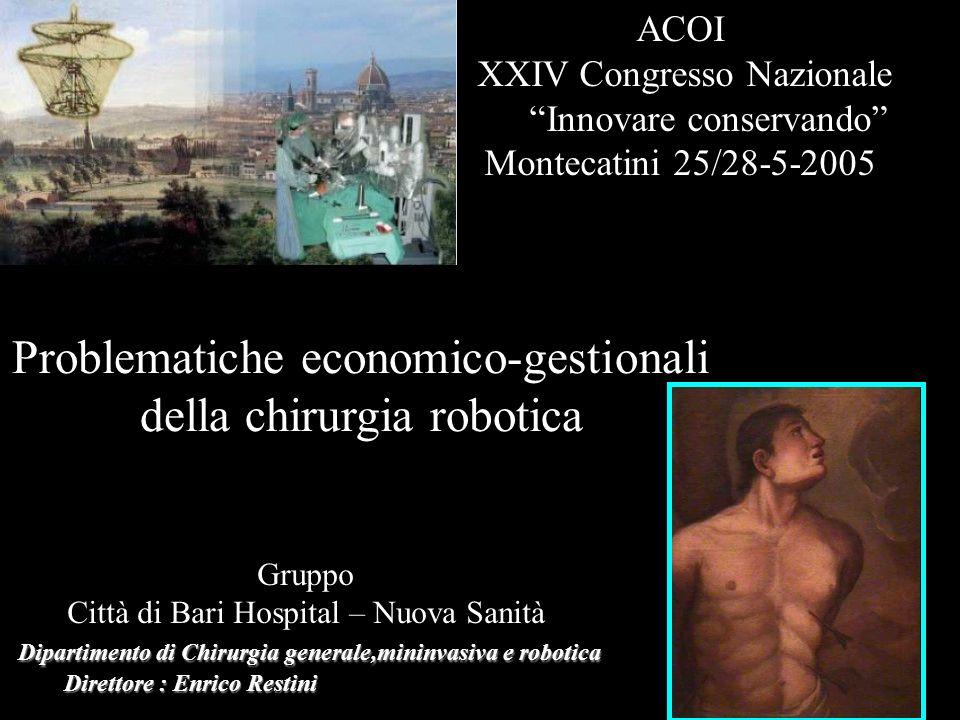 Dipartimento di Chirurgia generale,mininvasiva e robotica Direttore : Enrico Restini Direttore : Enrico Restini Gruppo Città di Bari Hospital – Nuova