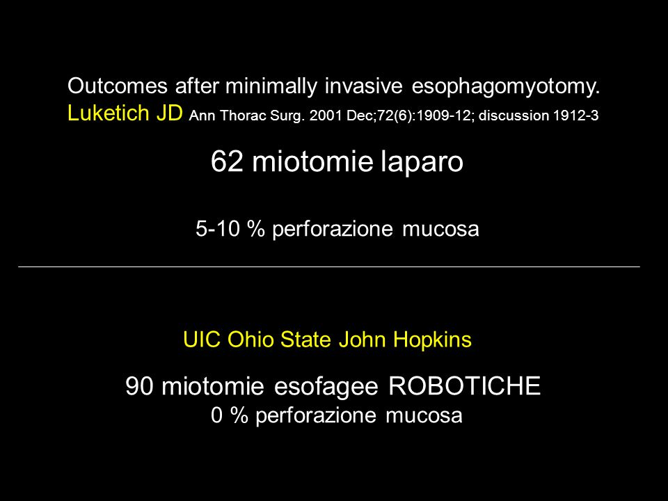 Outcomes after minimally invasive esophagomyotomy. Luketich JD Ann Thorac Surg. 2001 Dec;72(6):1909-12; discussion 1912-3 62 miotomie laparo 5-10 % pe
