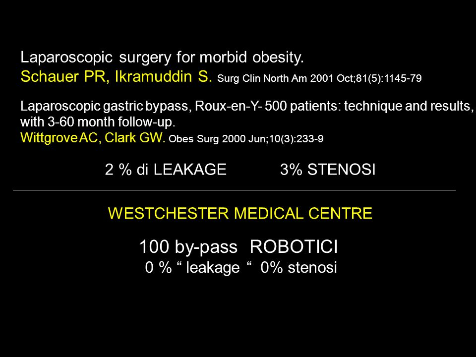WESTCHESTER MEDICAL CENTRE 100 by-pass ROBOTICI 0 % leakage 0% stenosi 100 by-pass ROBOTICI 0 % leakage 0% stenosi Laparoscopic surgery for morbid obe
