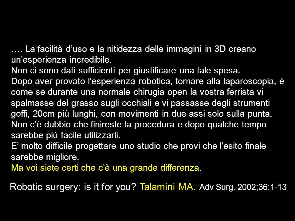 Robotic surgery: is it for you? Talamini MA. Adv Surg. 2002;36:1-13 …. La facilità duso e la nitidezza delle immagini in 3D creano unesperienza incred