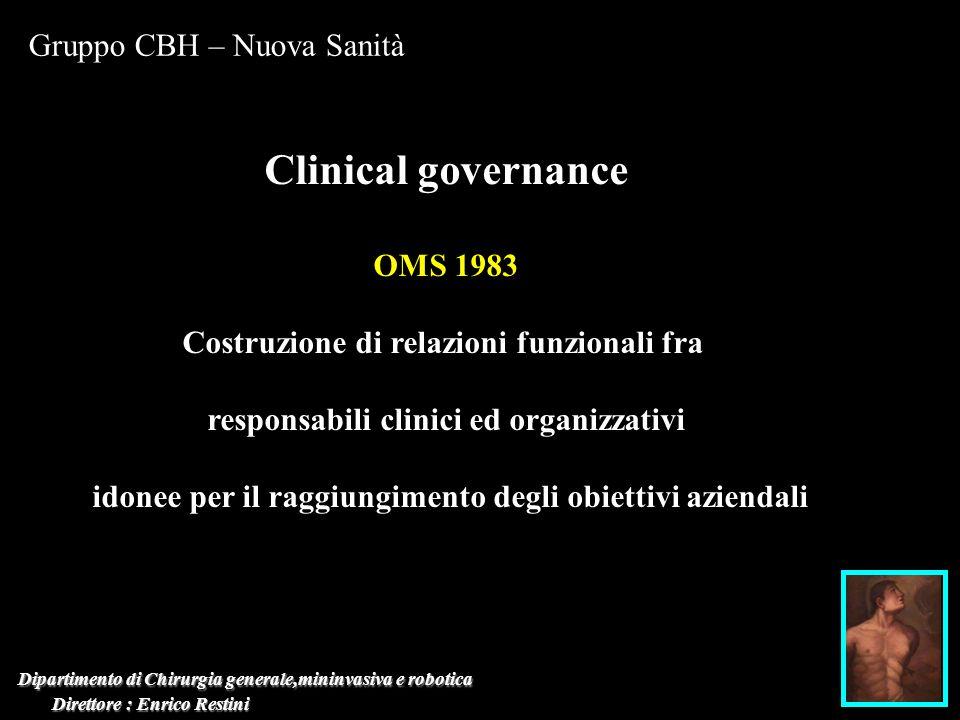 Dipartimento di Chirurgia generale,mininvasiva e robotica Direttore : Enrico Restini Direttore : Enrico Restini Gruppo CBH – Nuova Sanità Clinical gov