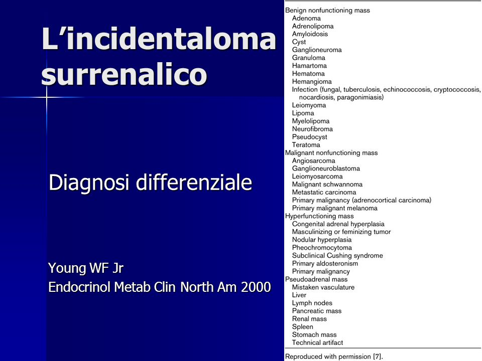 Lincidentaloma surrenalico Thompson GB Curr Opin Oncol 2003 Adrenal incidentalomas: findings on hormonal and surgical evaluations