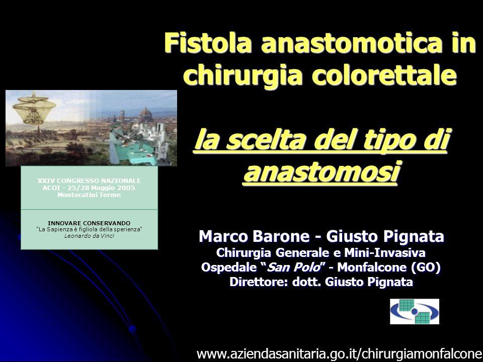 Fistola anastomotica in chirurgia colorettale la scelta del tipo di anastomosi Marco Barone - Giusto Pignata Chirurgia Generale e Mini-Invasiva Ospeda