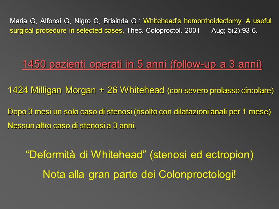 Maria G, Alfonsi G, Nigro C, Brisinda G.: Whiteheads hemorrhoidectomy. A useful surgical procedure in selected cases. Thec. Coloproctol. 2001 Aug; 5(2