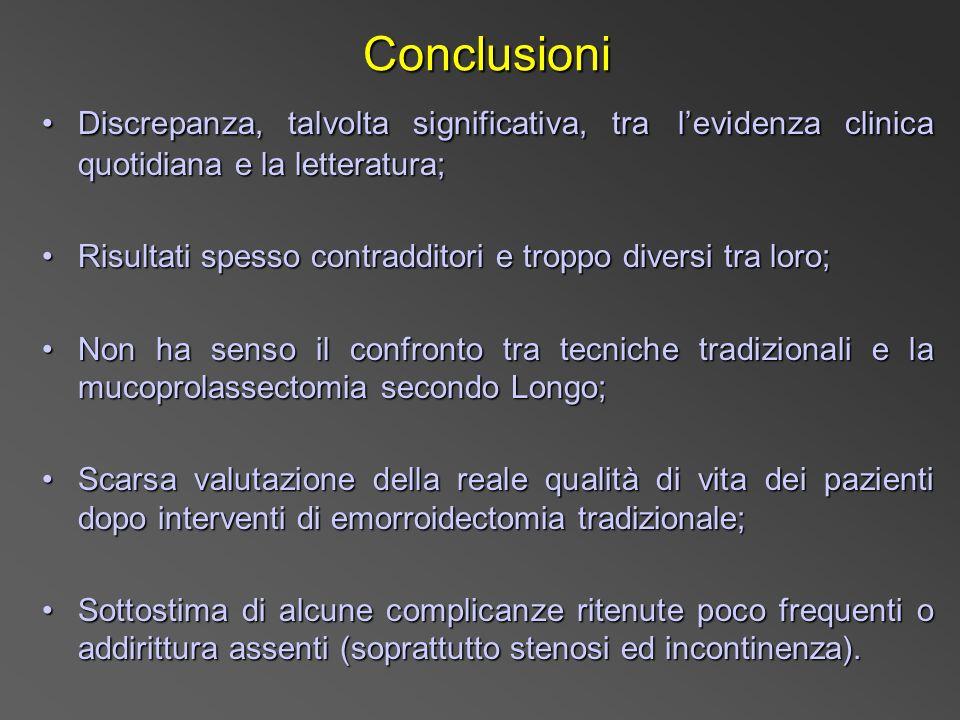 Conclusioni Conclusioni Discrepanza, talvolta significativa, tra levidenza clinica quotidiana e la letteratura;Discrepanza, talvolta significativa, tr