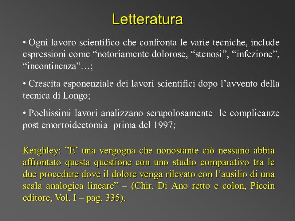 Letteratura Ogni lavoro scientifico che confronta le varie tecniche, include espressioni come notoriamente dolorose, stenosi, infezione, incontinenza…