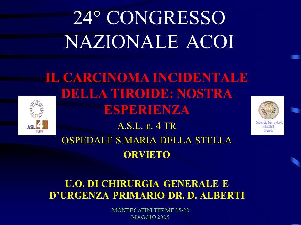 MONTECATINI TERME 25-28 MAGGIO 2005 TERMINOLOGIA CARCINOMA INCIDENTALE O INCIDENTALOMA MICROCARCINOMA CARCINOMA OCCULTO CON METASTASI LINFONODALI