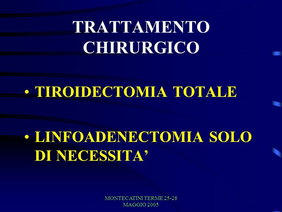 MONTECATINI TERME 25-28 MAGGIO 2005 TRATTAMENTO CHIRURGICO TIROIDECTOMIA TOTALE LINFOADENECTOMIA SOLO DI NECESSITA
