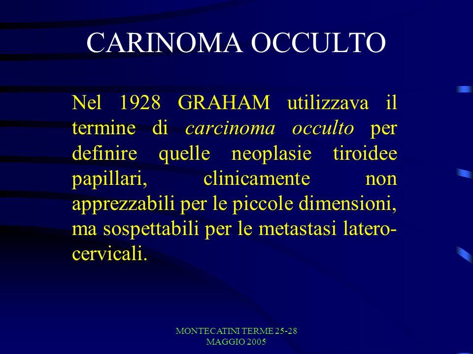 MONTECATINI TERME 25-28 MAGGIO 2005 CARINOMA OCCULTO Nel 1928 GRAHAM utilizzava il termine di carcinoma occulto per definire quelle neoplasie tiroidee papillari, clinicamente non apprezzabili per le piccole dimensioni, ma sospettabili per le metastasi latero- cervicali.