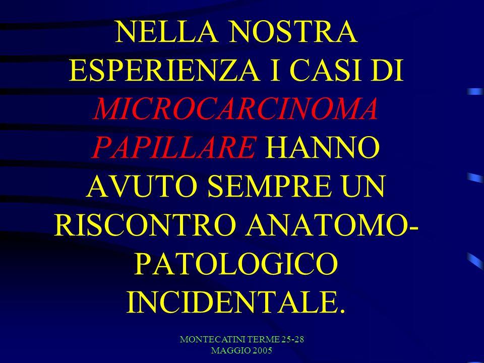 MONTECATINI TERME 25-28 MAGGIO 2005 NELLA NOSTRA ESPERIENZA I CASI DI MICROCARCINOMA PAPILLARE HANNO AVUTO SEMPRE UN RISCONTRO ANATOMO- PATOLOGICO INCIDENTALE.