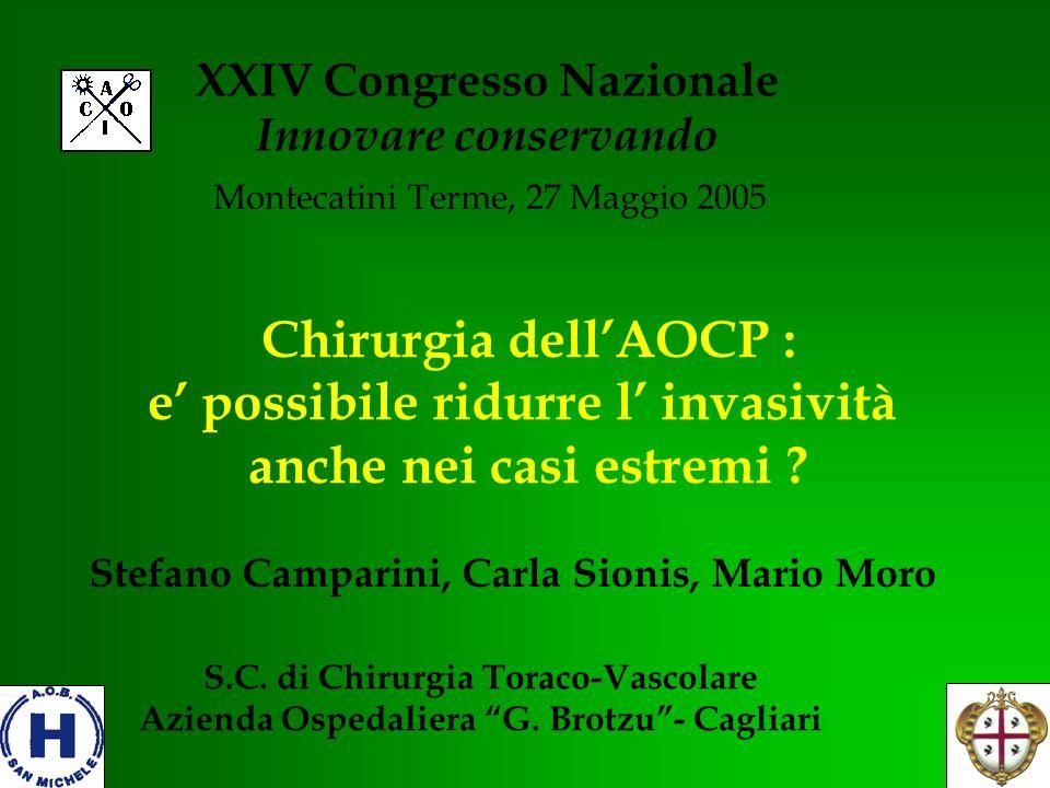 Chirurgia dellAOCP : e possibile ridurre l invasività anche nei casi estremi ? XXIV Congresso Nazionale Innovare conservando Montecatini Terme, 27 Mag