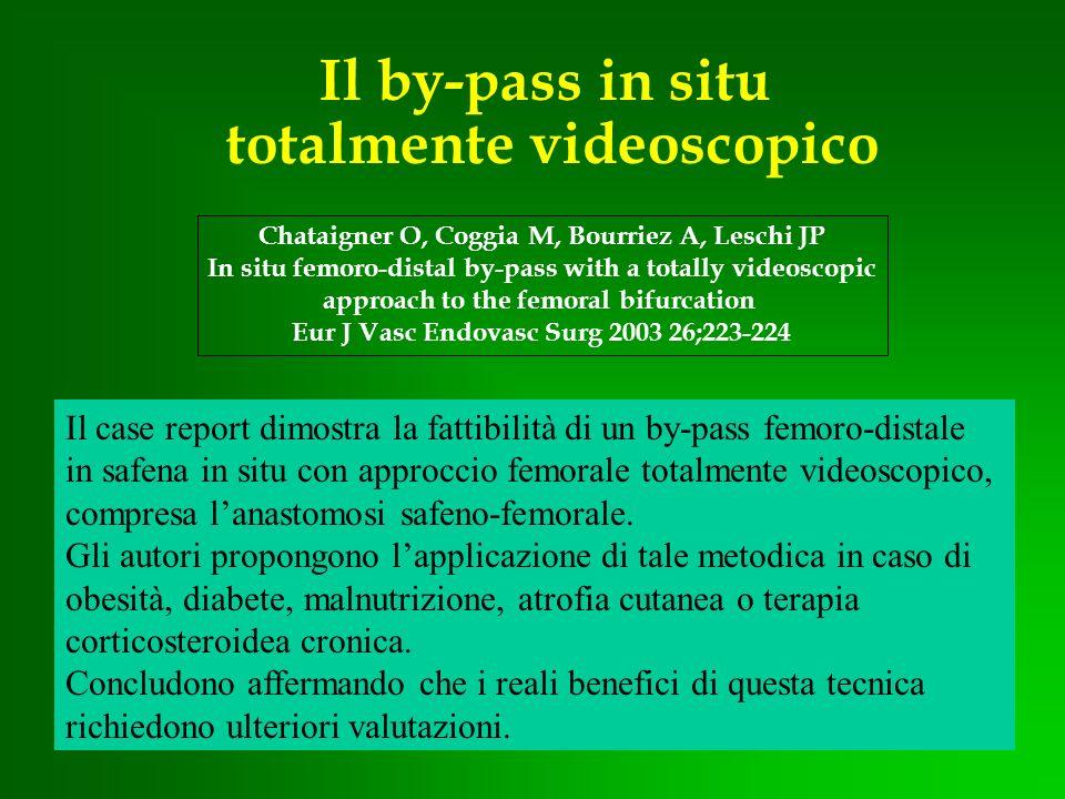 Il by-pass in situ totalmente videoscopico Chataigner O, Coggia M, Bourriez A, Leschi JP In situ femoro-distal by-pass with a totally videoscopic appr