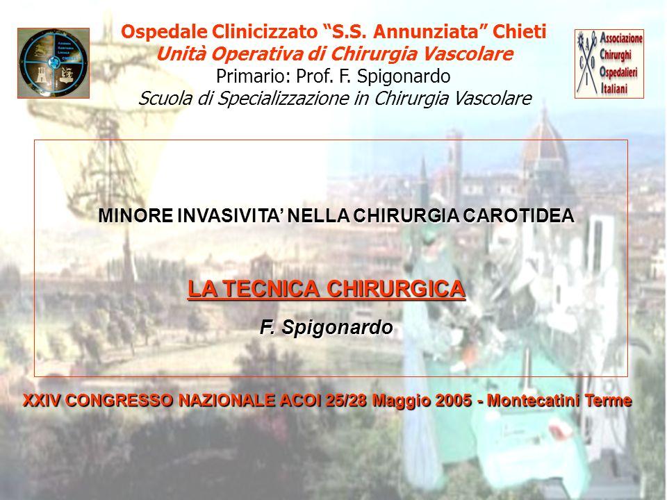 Ospedale Clinicizzato S.S. Annunziata Chieti Unità Operativa di Chirurgia Vascolare Primario: Prof. F. Spigonardo Scuola di Specializzazione in Chirur