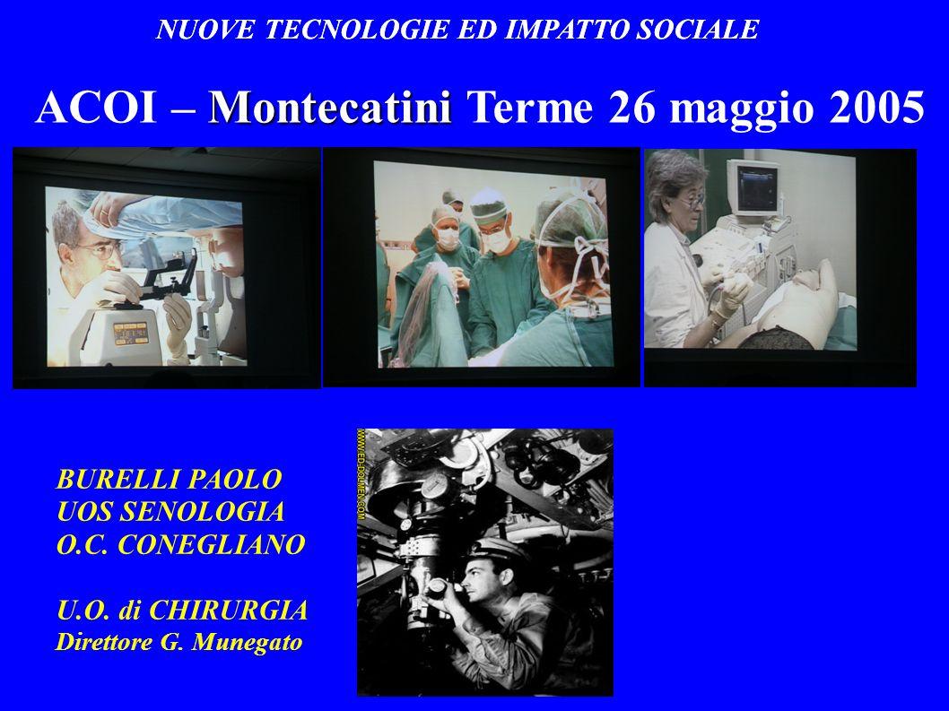 NUOVE TECNOLOGIE ED IMPATTO SOCIALE Montecatini ACOI – Montecatini Terme 26 maggio 2005 BURELLI PAOLO UOS SENOLOGIA O.C. CONEGLIANO U.O. di CHIRURGIA