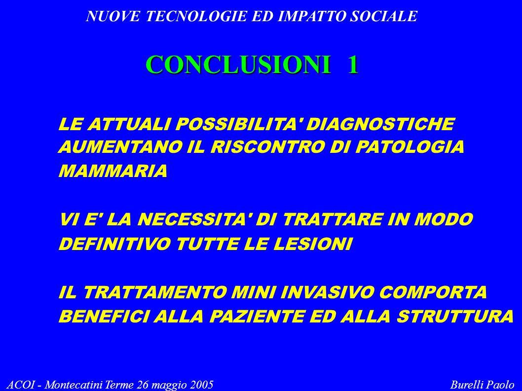 NUOVE TECNOLOGIE ED IMPATTO SOCIALE ACOI - Montecatini Terme 26 maggio 2005 Burelli Paolo CONCLUSIONI 1 LE ATTUALI POSSIBILITA' DIAGNOSTICHE AUMENTANO