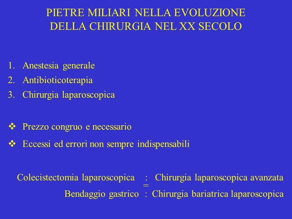PIETRE MILIARI NELLA EVOLUZIONE DELLA CHIRURGIA NEL XX SECOLO 1.Anestesia generale 2.Antibioticoterapia 3.Chirurgia laparoscopica Prezzo congruo e nec
