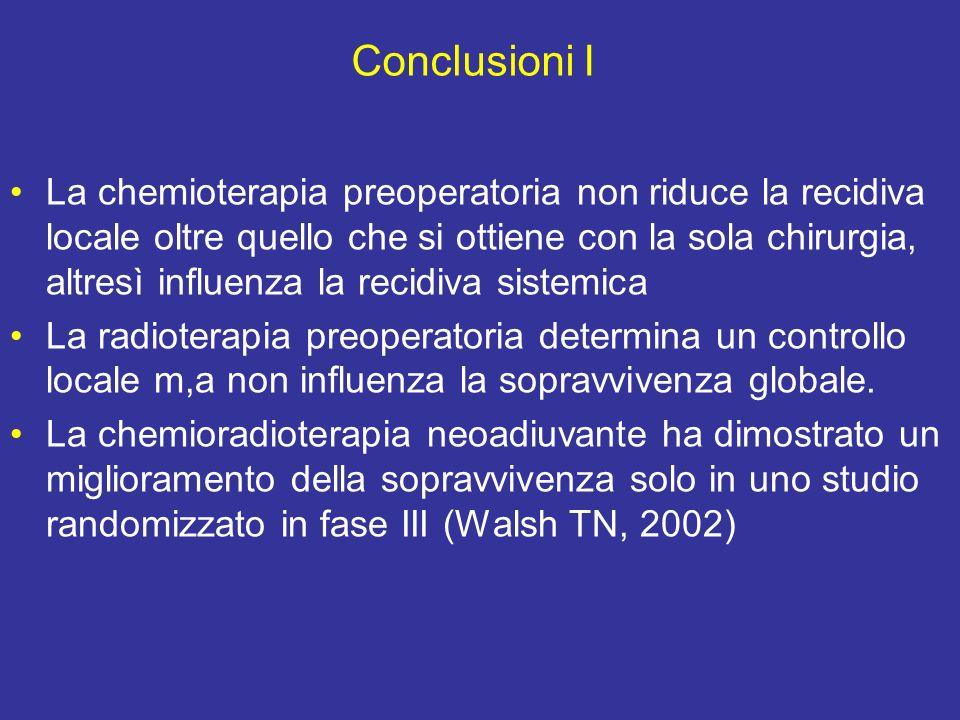 Conclusioni I La chemioterapia preoperatoria non riduce la recidiva locale oltre quello che si ottiene con la sola chirurgia, altresì influenza la recidiva sistemica La radioterapia preoperatoria determina un controllo locale m,a non influenza la sopravvivenza globale.