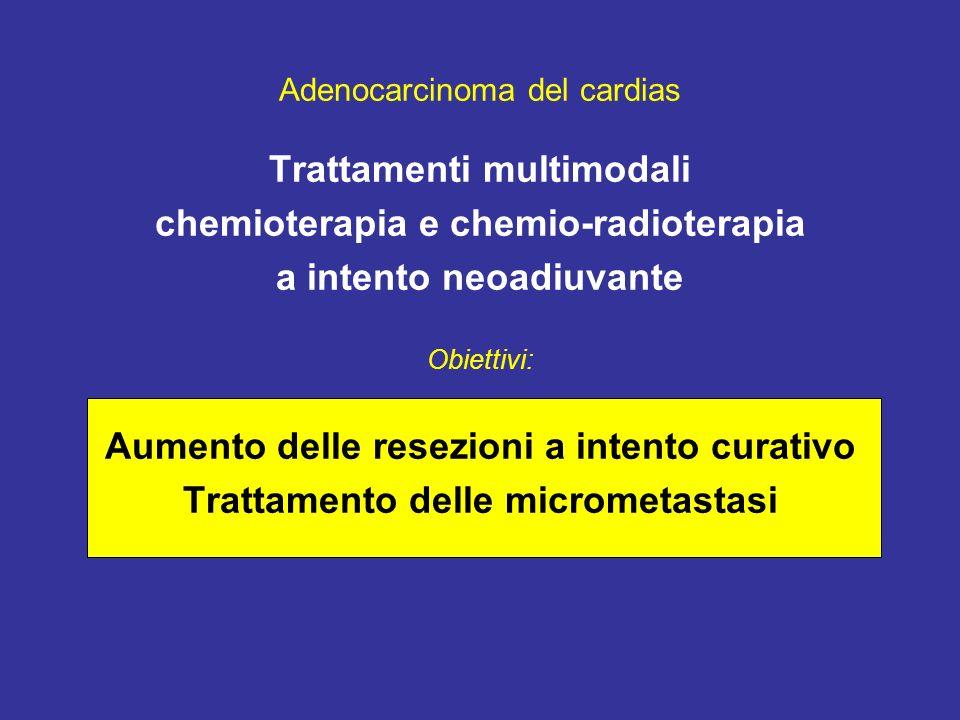 Adenocarcinoma del cardias Trattamenti multimodali chemioterapia e chemio-radioterapia a intento neoadiuvante Obiettivi: Aumento delle resezioni a intento curativo Trattamento delle micrometastasi