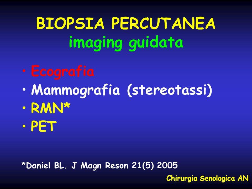 BIOPSIA PERCUTANEA imaging guidata Ecografia Mammografia (stereotassi) RMN* PET *Daniel BL. J Magn Reson 21(5) 2005 Chirurgia Senologica AN