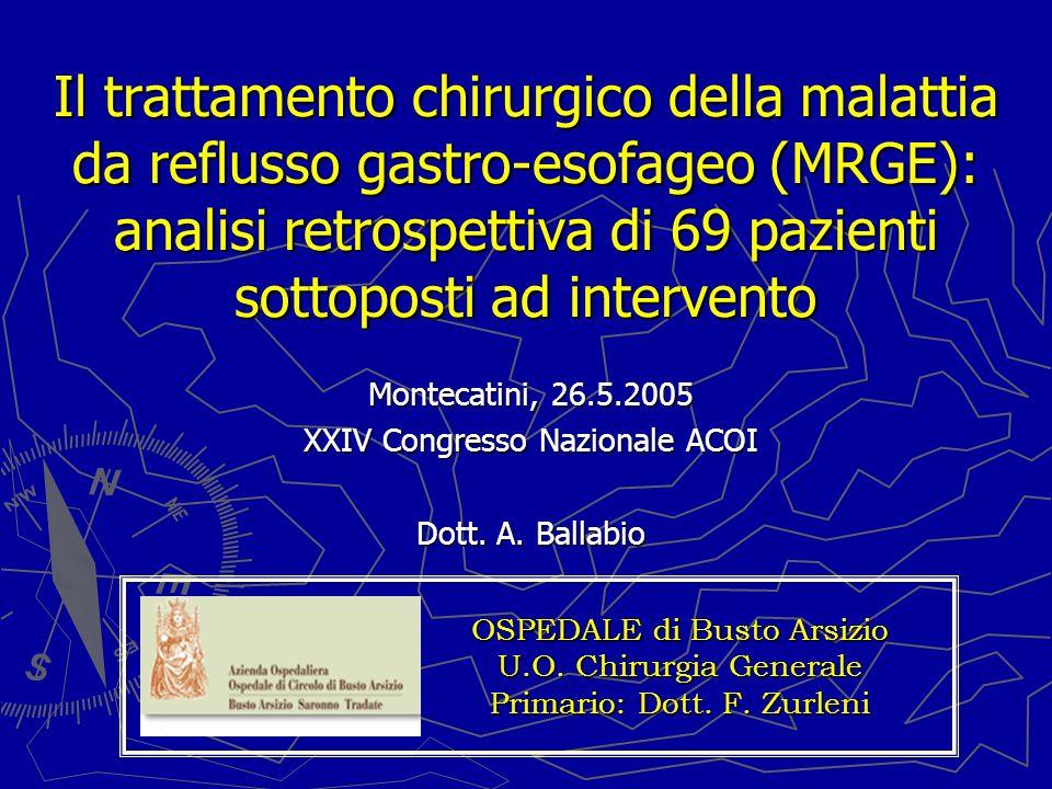 Il trattamento chirurgico della malattia da reflusso gastro-esofageo (MRGE): analisi retrospettiva di 69 pazienti sottoposti ad intervento Montecatini