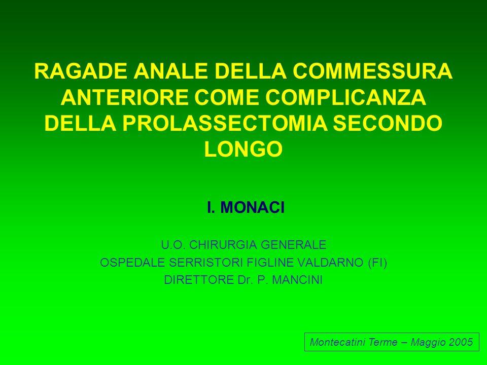 PROLASSECTOMIA SECONDO LONGO CASISTICA (FEBBRAIO 2000- DICEMBRE 2004) 25 53 ETA MEDIA 48 ANNI ( RANGE 22-86) Montecatini Terme - Maggio 2005 78 PAZIENTI 30 37 11