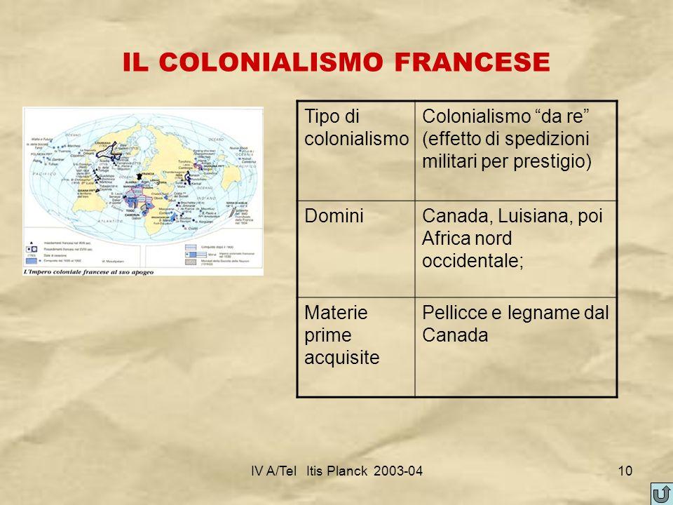 IV A/Tel Itis Planck 2003-0410 IL COLONIALISMO FRANCESE Tipo di colonialismo Colonialismo da re (effetto di spedizioni militari per prestigio) DominiC