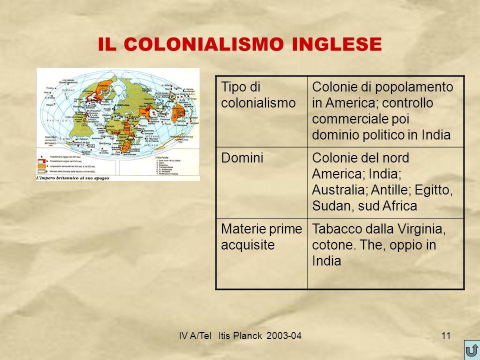 IV A/Tel Itis Planck 2003-0411 IL COLONIALISMO INGLESE Tipo di colonialismo Colonie di popolamento in America; controllo commerciale poi dominio polit