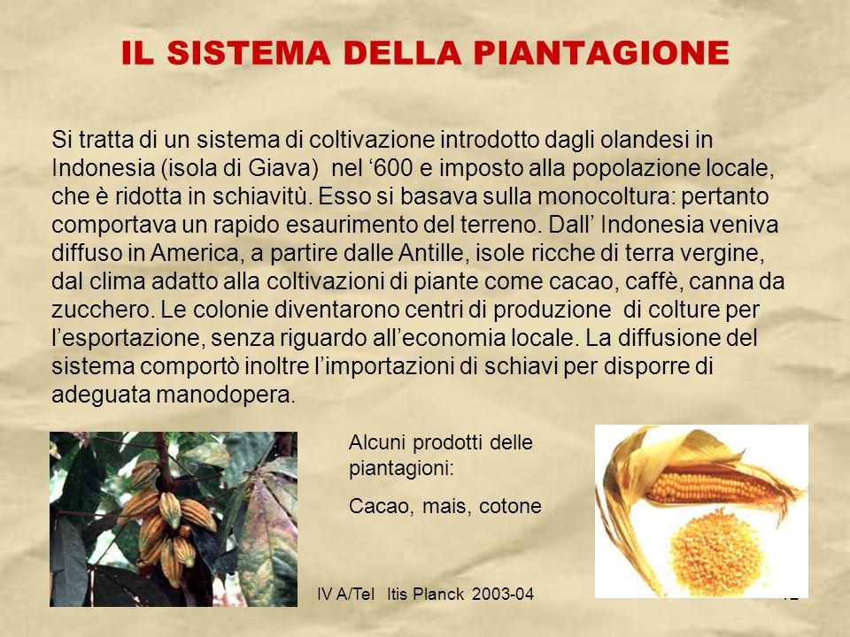 IV A/Tel Itis Planck 2003-0412 IL SISTEMA DELLA PIANTAGIONE Si tratta di un sistema di coltivazione introdotto dagli olandesi in Indonesia (isola di G