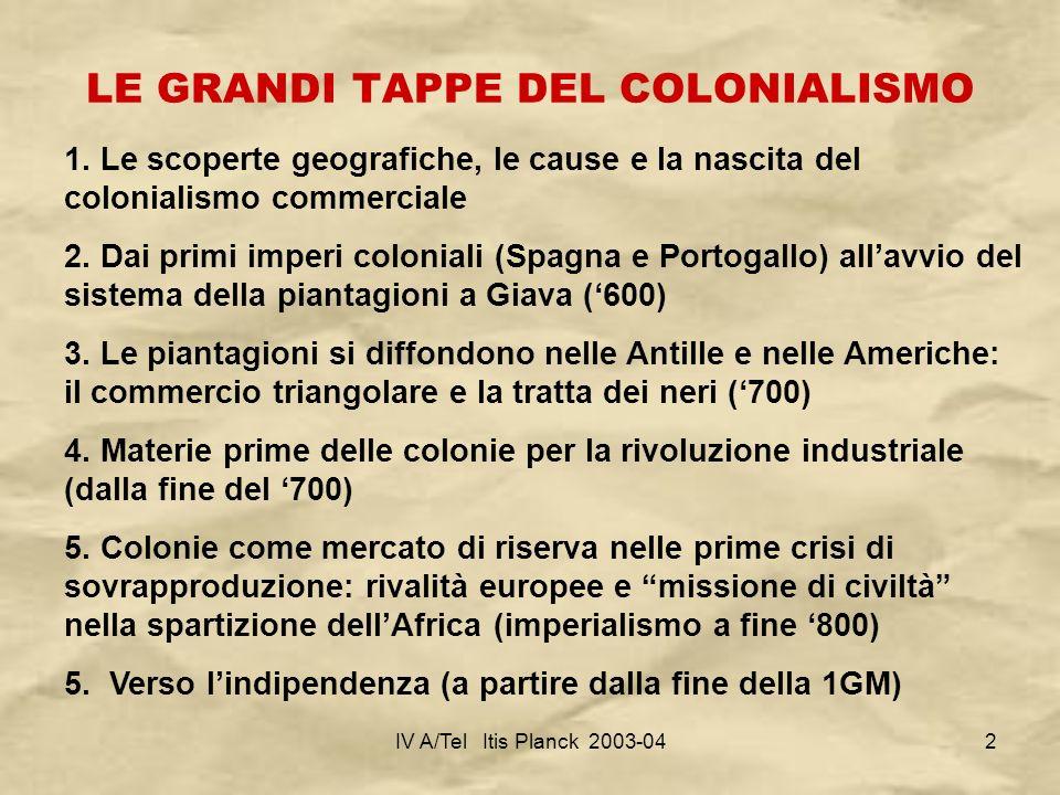 IV A/Tel Itis Planck 2003-043 DAI VIAGGI E DALLE ESPLORAZIONE AL DOMINIO Il tema del colonialismo è molto importante per comprendere gran parte della storia mondiale dal 1500 ai giorni nostri.