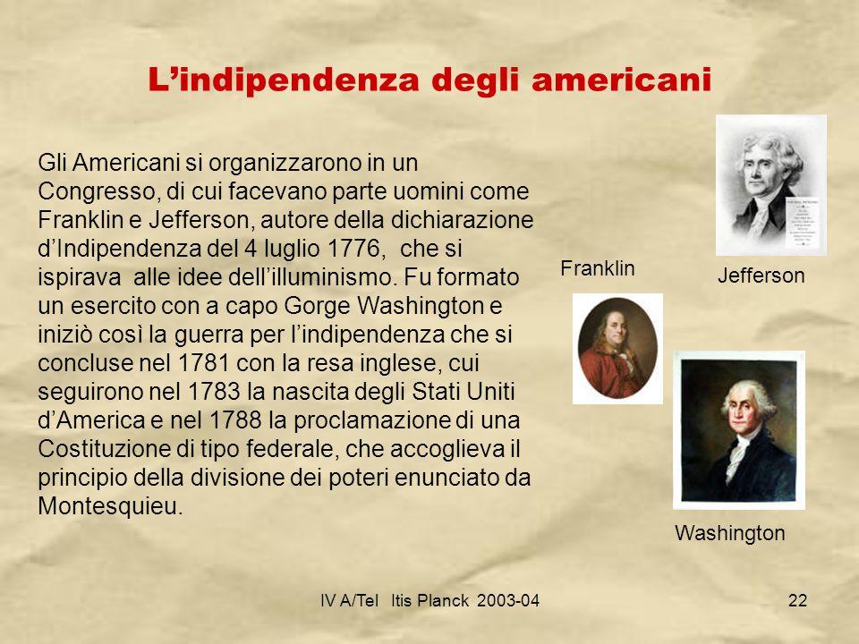 IV A/Tel Itis Planck 2003-0422 Lindipendenza degli americani Gli Americani si organizzarono in un Congresso, di cui facevano parte uomini come Frankli