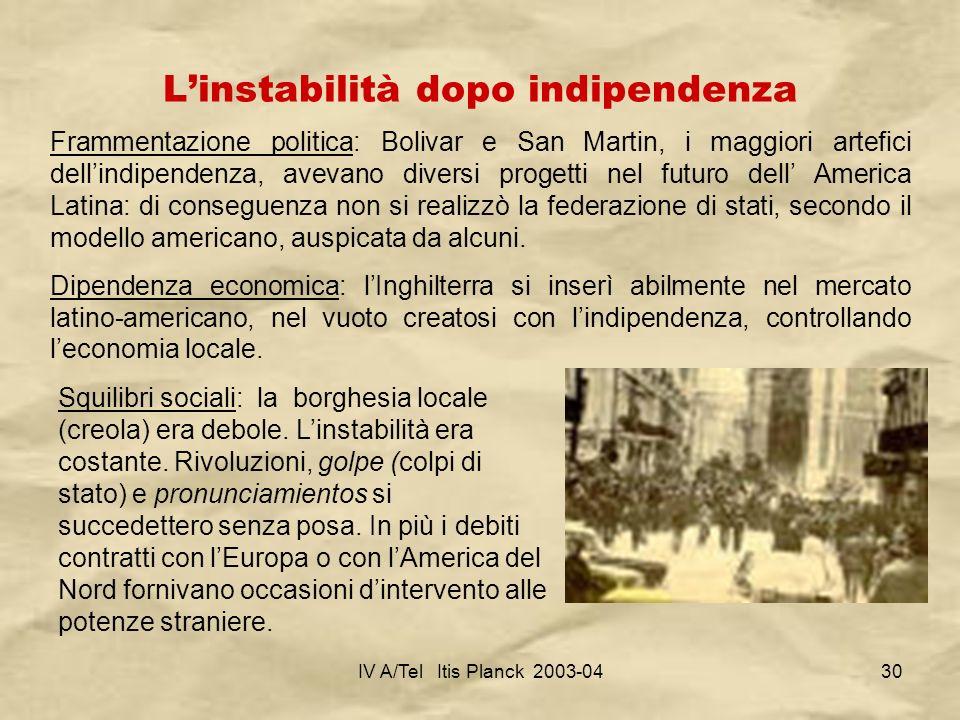IV A/Tel Itis Planck 2003-0430 Linstabilità dopo indipendenza Frammentazione politica: Bolivar e San Martin, i maggiori artefici dellindipendenza, ave