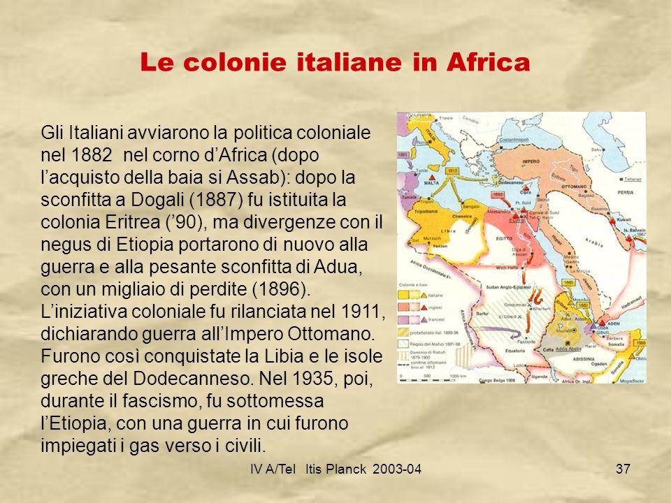 IV A/Tel Itis Planck 2003-0437 Le colonie italiane in Africa Gli Italiani avviarono la politica coloniale nel 1882 nel corno dAfrica (dopo lacquisto d