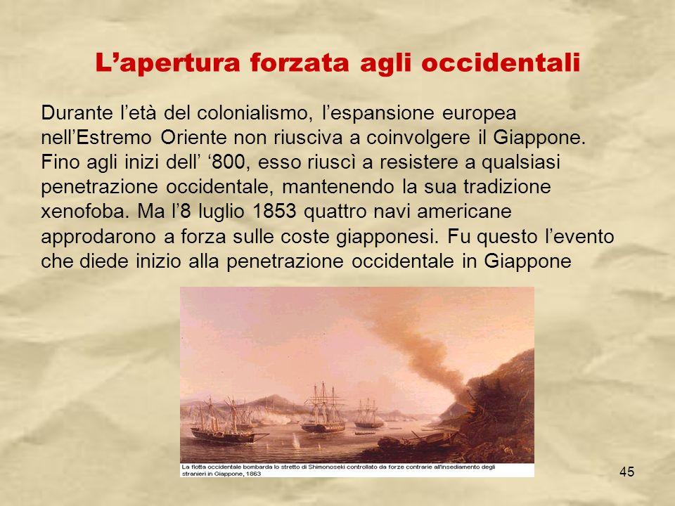 IV A/Tel Itis Planck 2003-0445 Lapertura forzata agli occidentali Durante letà del colonialismo, lespansione europea nellEstremo Oriente non riusciva