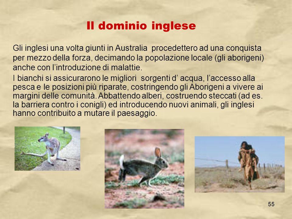 IV A/Tel Itis Planck 2003-0455 Il dominio inglese Gli inglesi una volta giunti in Australia procedettero ad una conquista per mezzo della forza, decim
