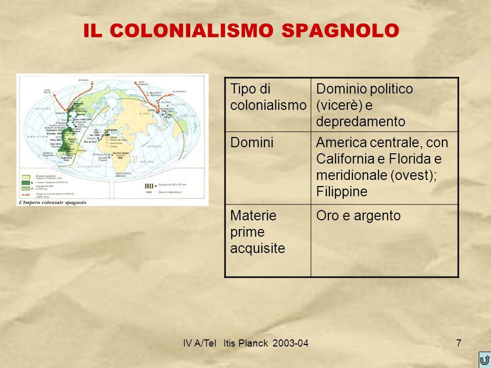IV A/Tel Itis Planck 2003-047 IL COLONIALISMO SPAGNOLO Tipo di colonialismo Dominio politico (vicerè) e depredamento DominiAmerica centrale, con Calif