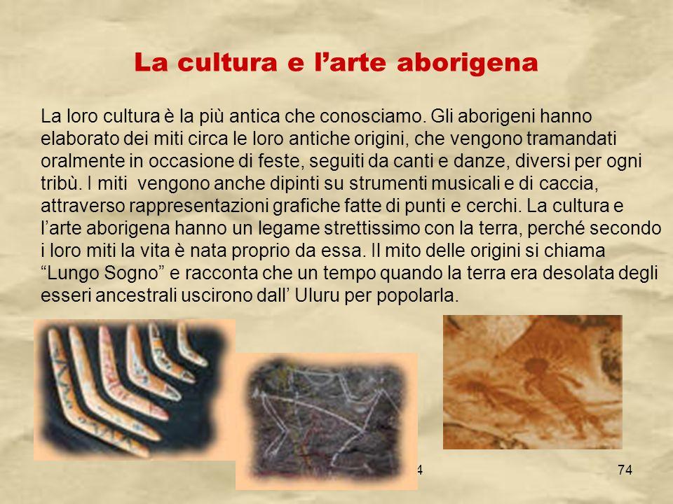 IV A/Tel Itis Planck 2003-0474 La cultura e larte aborigena La loro cultura è la più antica che conosciamo. Gli aborigeni hanno elaborato dei miti cir