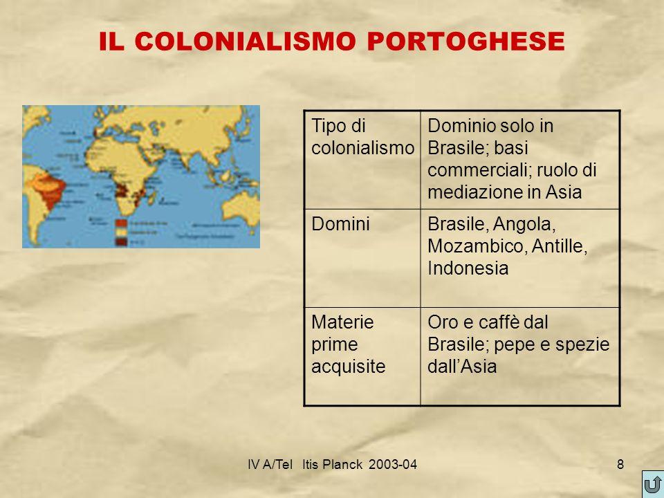 IV A/Tel Itis Planck 2003-048 IL COLONIALISMO PORTOGHESE Tipo di colonialismo Dominio solo in Brasile; basi commerciali; ruolo di mediazione in Asia D