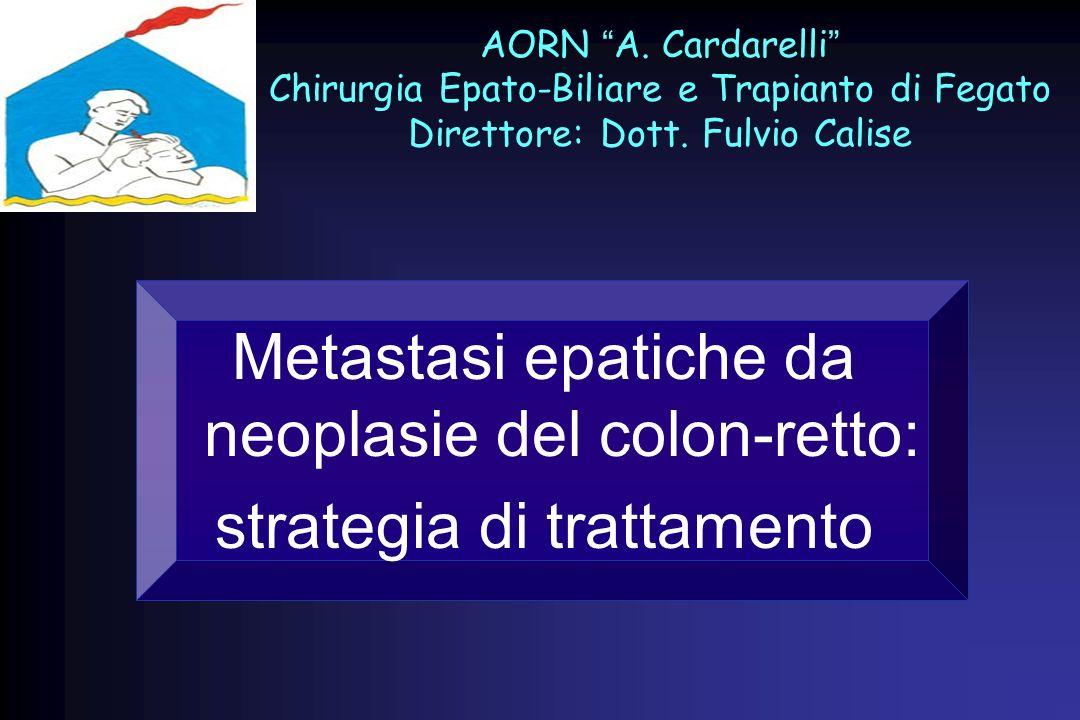 Il 50% dei pazienti con CCR sviluppa metastasi epatiche Il 25% dei pazienti ha già metastasi al momento della diagnosi di CCR La resezione epatica è lunico trattamento che offre possibilità di sopravvivenza a lungo termine nei pazienti con metastasi da neoplasia colorettale Una resezione curativa può essere realizzata solo nel 10-20% dei pazienti