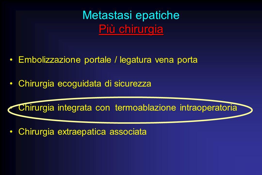 Più chirurgia Metastasi epatiche Più chirurgia Embolizzazione portale / legatura vena porta Chirurgia ecoguidata di sicurezza Chirurgia integrata con