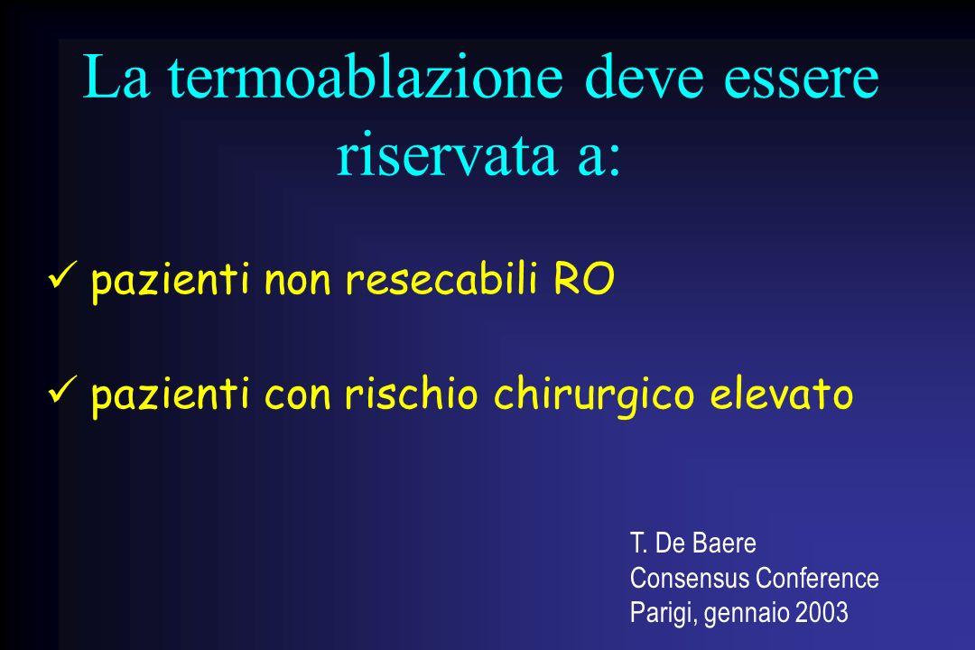 La termoablazione deve essere riservata a: pazienti non resecabili RO pazienti con rischio chirurgico elevato T. De Baere Consensus Conference Parigi,