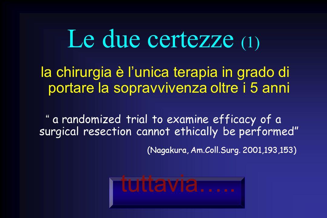 Le due certezze (1) la chirurgia è lunica terapia in grado di portare la sopravvivenza oltre i 5 anni a randomized trial to examine efficacy of a surg