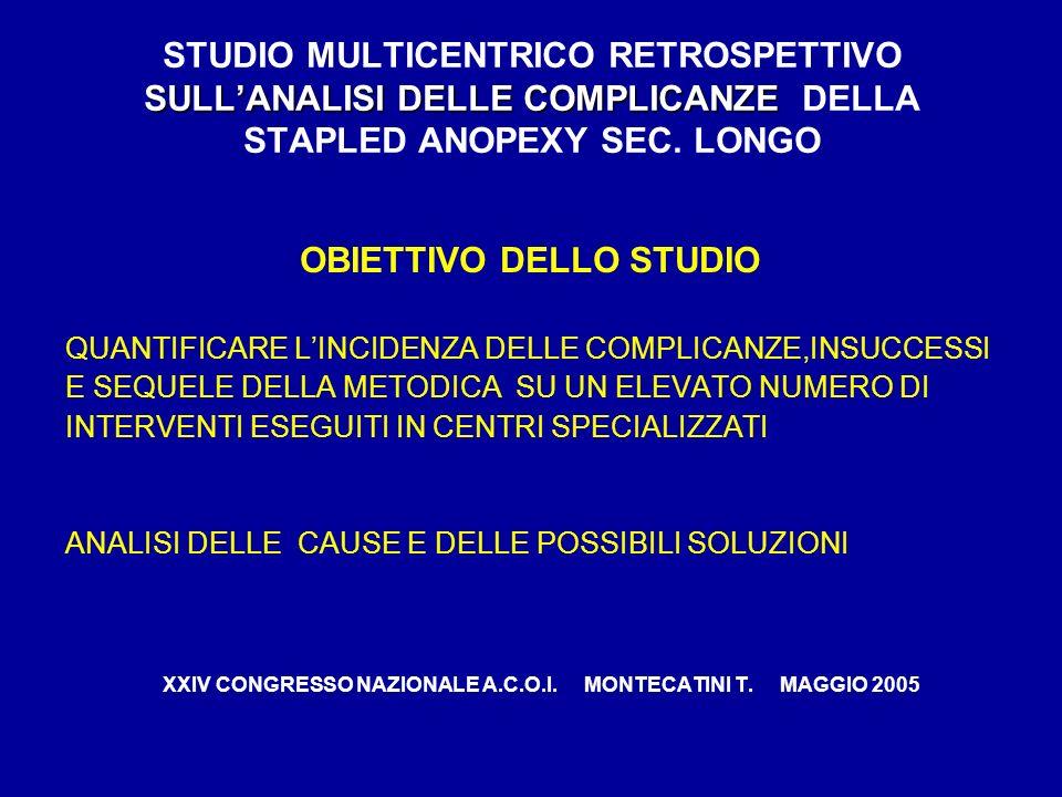 SULLANALISI DELLE COMPLICANZE STUDIO MULTICENTRICO RETROSPETTIVO SULLANALISI DELLE COMPLICANZE DELLA STAPLED ANOPEXY SEC. LONGO OBIETTIVO DELLO STUDIO