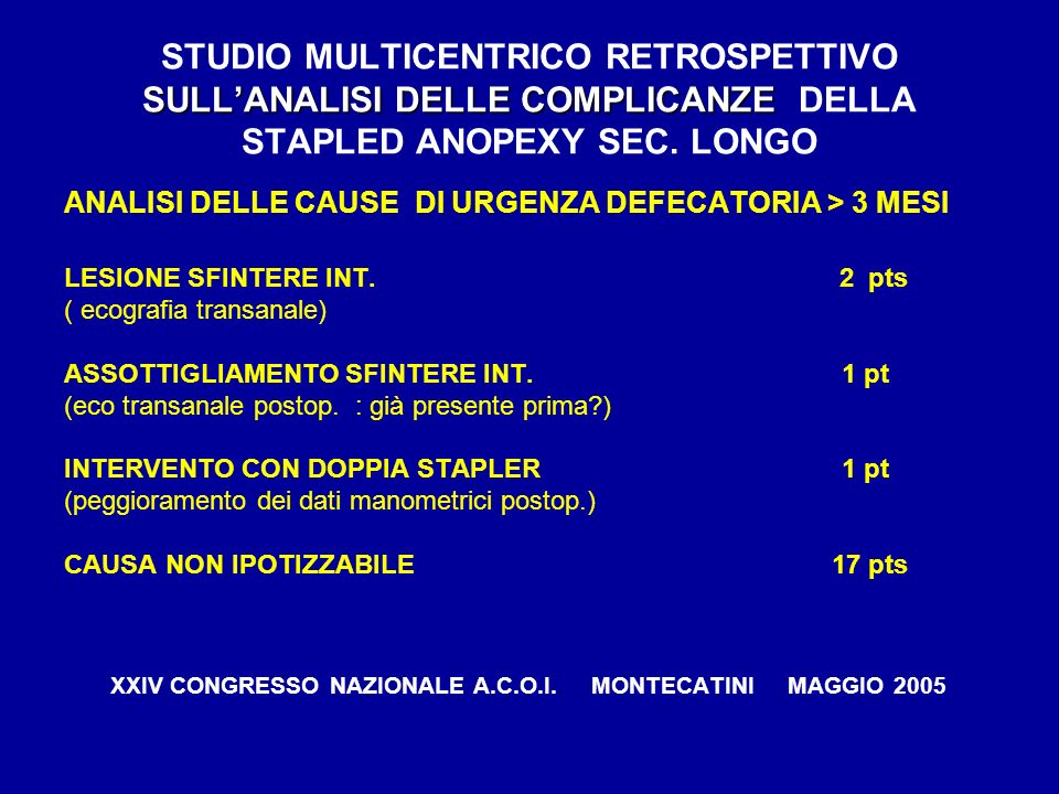 SULLANALISI DELLE COMPLICANZE STUDIO MULTICENTRICO RETROSPETTIVO SULLANALISI DELLE COMPLICANZE DELLA STAPLED ANOPEXY SEC. LONGO ANALISI DELLE CAUSE DI