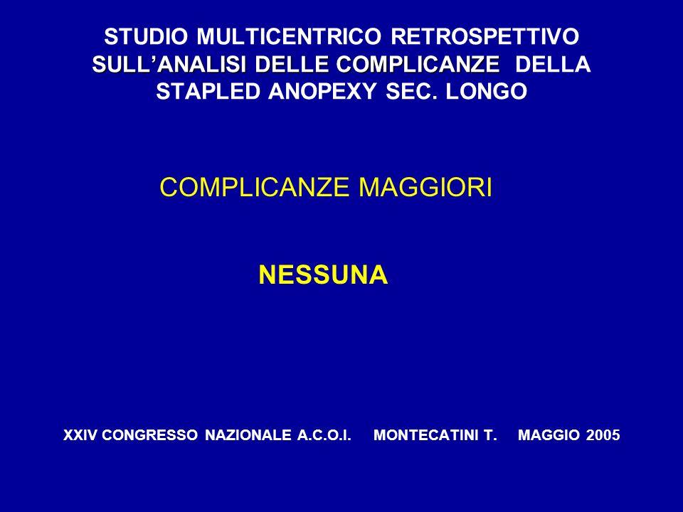SULLANALISI DELLE COMPLICANZE STUDIO MULTICENTRICO RETROSPETTIVO SULLANALISI DELLE COMPLICANZE DELLA STAPLED ANOPEXY SEC. LONGO COMPLICANZE MAGGIORI N