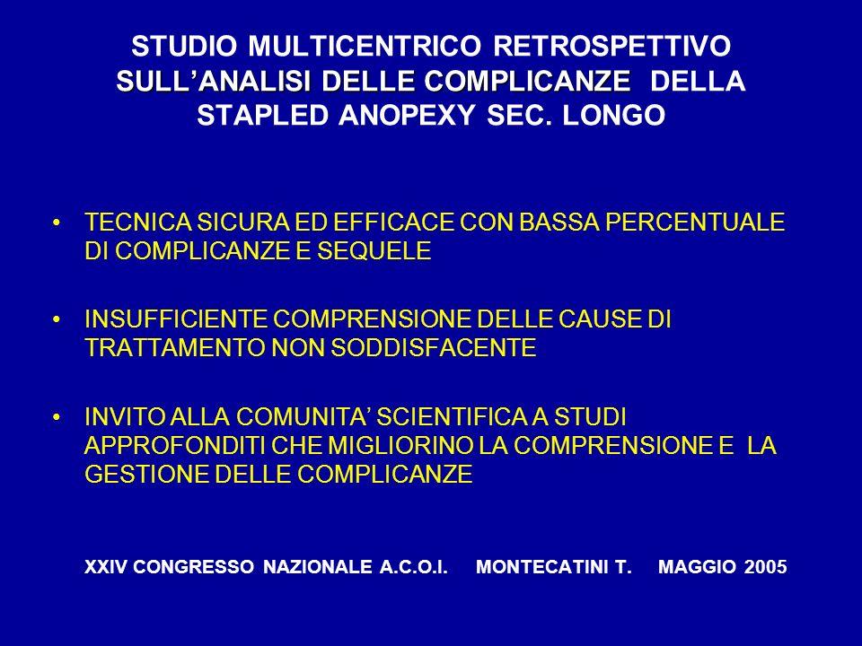SULLANALISI DELLE COMPLICANZE STUDIO MULTICENTRICO RETROSPETTIVO SULLANALISI DELLE COMPLICANZE DELLA STAPLED ANOPEXY SEC. LONGO TECNICA SICURA ED EFFI