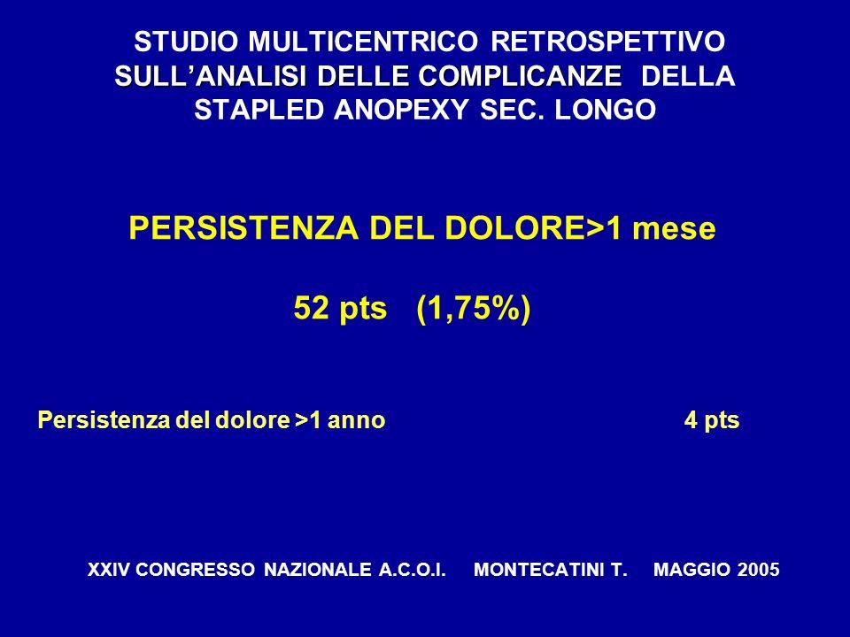 SULLANALISI DELLE COMPLICANZE STUDIO MULTICENTRICO RETROSPETTIVO SULLANALISI DELLE COMPLICANZE DELLA STAPLED ANOPEXY SEC. LONGO PERSISTENZA DEL DOLORE