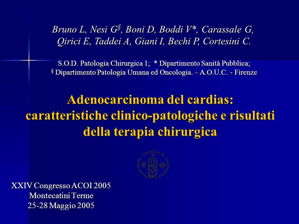 Adenocarcinoma del cardias: caratteristiche clinico-patologiche e risultati della terapia chirurgica XXIV Congresso ACOI 2005 Montecatini Terme 25-28