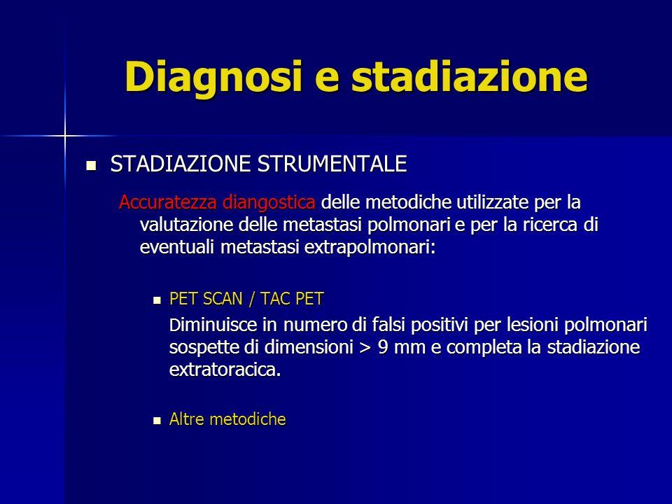 Diagnosi e stadiazione STADIAZIONE STRUMENTALE STADIAZIONE STRUMENTALE Accuratezza diangostica delle metodiche utilizzate per la valutazione delle met