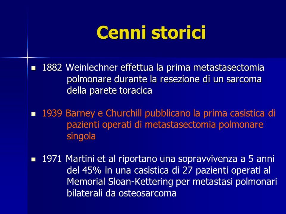 Cenni storici 1882 effettua la prima metastasectomia 1882 Weinlechner effettua la prima metastasectomia polmonare durante la resezione di un sarcoma p